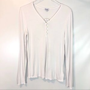 Splendid White Ribbed Henley Shirt SIZE XL